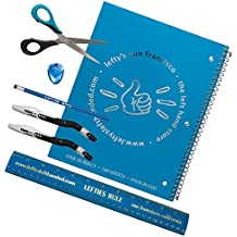 7 Piece Set for Left-Handed Middle Schoolers - Blue Implements, Blue Notebook