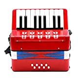 MonkeyJack Mini Kids Accordion 17 Keys 8 Bass Musical Educational Instrument Toy Xmas Gift Red