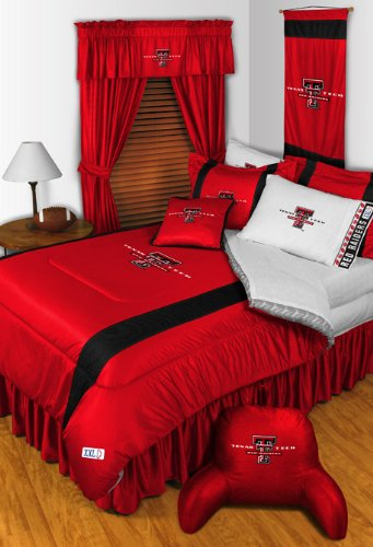 Texas Tech Red Raiders QUEEN Size 14 Pc Bedding Set (Comforter, Sheet Set, 2 Pillow Cases, 2 Shams, Bedskirt, Valance/Drape Set & Matching Bedrest) - SAVE BIG ON BUNDLING!