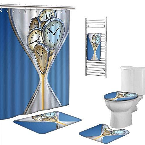 Bathroom Rugs Shower Curtain/Bath Towls SetsIncludes (Toilet mat Three-Piece Suit + 1 Shower Curtain + 1 Bath Towel) Size:L-Clock Decor Hourglass Time Clocks with Sand Decorations for Home A Vintage
