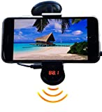 FM Transmitter With Phone Holder - Matrixx Electronics Universal Wireless FM Transmitter - Music To Car Radio, Hands Free Calls, 360 Rotation, Super Suction - iPhone 6/5/4, Samsung & All Smartphones