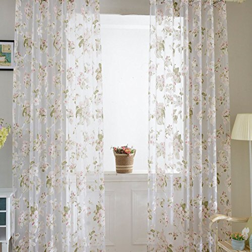 BROSHAN Floral Voile Tulle Door Window Curtain White Sheer Voile Curtain Panel Drapes Voile Window Treatments for Living room,Bedroom,Balcony 1Pics (flower)