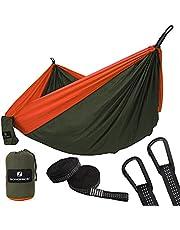 SONGMICS Hängematte, Ultraleicht, tragbar und atmungsaktiv, für 2 Personen, aus Fallschirm Nylon, bis 300 kg belastbar, 275 x 140 cm, mit Premium Befestigung, für Reise Outdoor Camping Garten
