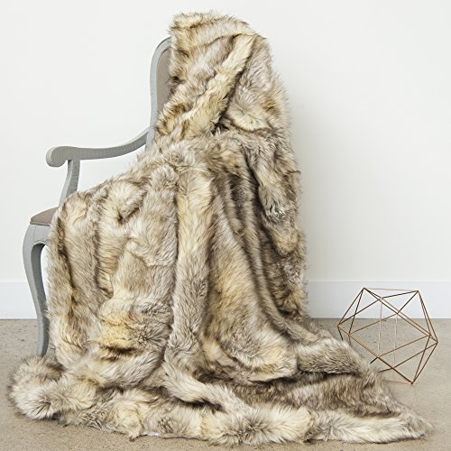 Best Home Fashion Faux Fur Throw - Full Blanket - Kitt Fox - 58