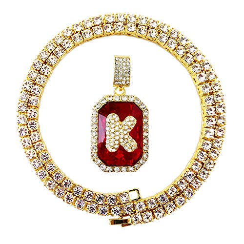 Style Mens Diamond - HH Bling Empire Iced Out Hip Hop Gold Lab Ruby Diamond Letter A to Z Tennis Chain Necklace 22 Inch (Ruby & Letter K)