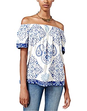 Women's Off-The-Shoulder Printed Top