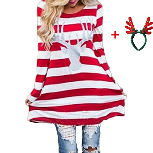 Red and White Striped Reindeer Christmas Dress - 4 Colors
