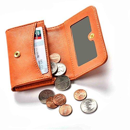 Leather Case Minimalist Money Clip Front Pocket Wallet Super Thin Fashion Card Holder With ID Card Come with Mirror