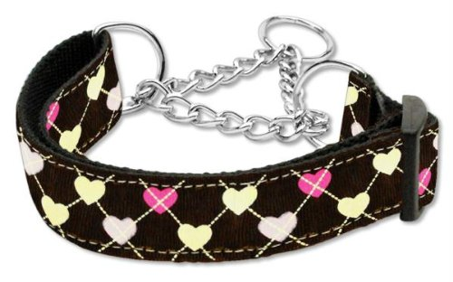 Mirage Pet Products Argyle Hearts Nylon Ribbon Martingale Collar for Pets, Large, Brown