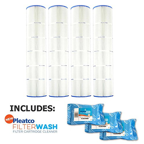 Pleatco Cartridge Filter PA137-PAK4 Hayward Super-Star-Clear C5500 SwimClear C5520 open w/molded gasket CX1380-RE w/ 3x Filter Washes by Pleatco