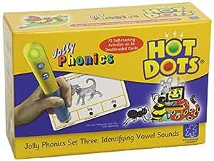 Learning Resources Hot Dots Jolly Phonics - Juego educativo con fichas para identificar sonidos vocálicos no incluye lapiz interactivo contenido en inglés Importado de Reino Unido