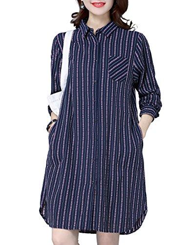 SpringAir Women's Long Style Long Sleeves Polo Neck Stripes Shirt Dress