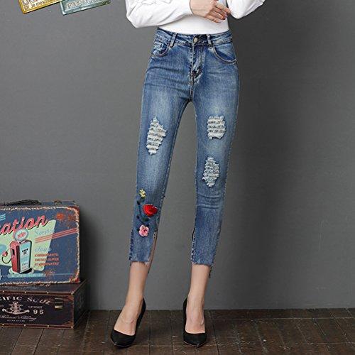 Longue Broderie Elastique Lumire Jeans Femme Bleu Jeans Pantalons Leggings Sentao Skinny Crayon Pantalon UxqzwHX1t
