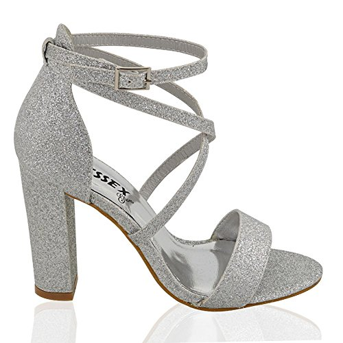 Essex Glam Womens Strappy Block Heel Silver Glitter Ankle Strap Sandals 8 B(M) US