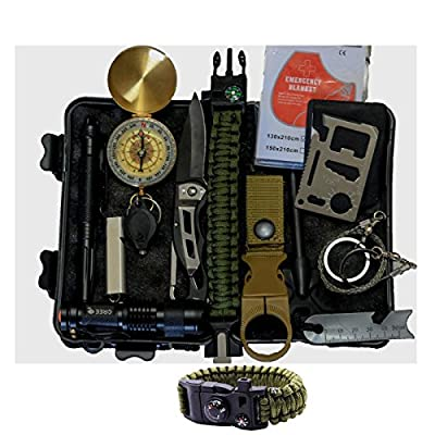 Emergency Survival Kit Camping Hiking Gear Outdoor Tactical Climbing Tools Compact Kits Blanket Compass Hunting Knife Tool Wilderness Multi Bracelet Fire Adventures Pen by Outdoor Adventures by OutdoorAdventures