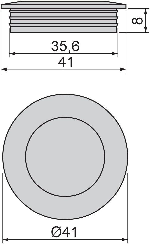 Tirador empotrado circular /Ø41mm para muebles Emuca niquel satinado tirador u/ñero para cajones y armarios