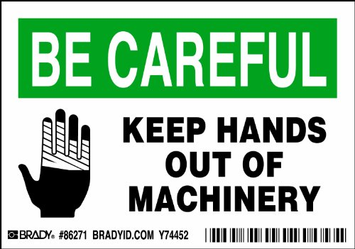 """Brady 86271,  Equipment/Oem Labels, 3 1/2"""" Height x 5"""" Width, Black/Green on White, Legend """"Keep Hands Out Of Machinery""""  (5 per Package)"""