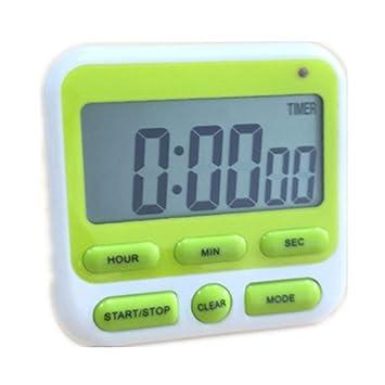 Reloj despertador, temporizador de cocina, temporizador digital, temporizador electrónico LCD, reloj con soporte de pie, luz de flash y intensidad de sonido ...