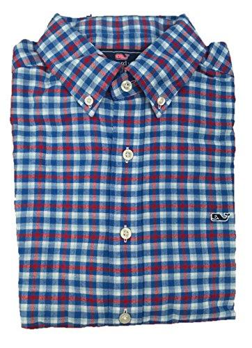Vineyard Vines Mens Slim Fit Whale Shirt Button Down Dress Shirt  Wainscott Plaid Tomato Check  X Large