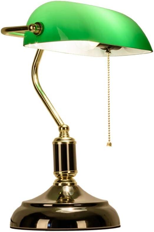 YE ZI Decorative Lighting Table lamp Table Lamp, Retro Piano Banker Lamp, Black Gold Appearance Metal Plating Base, Emerald Green Glass Lampshade, Metal Beaded Rope Switch (E27) Reading Desk La