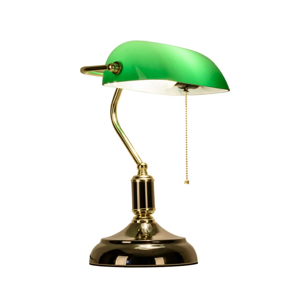 Lighting, Bedside Table lamp Table Lamp, Retro Piano Banker Lamp, Black Gold Appearance Metal Plating Base, Emerald Green Glass Lampshade, Metal Beaded Rope Switch (E27) Furniture Light