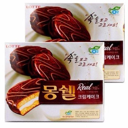 Lotte MongShell TongTong Real Cream Cake / Korea Chocolate Pie 몽쉘통통 2pack