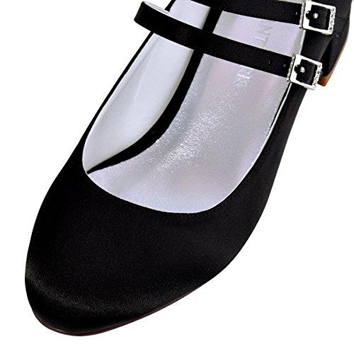 ElegantPark Women Closed Toe Chunky Heel Mary Jane Pumps Satin Evening Wedding Dress Shoes Black 0GY9SLLTLU