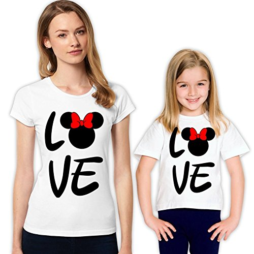 Minnie and Minnie Love Mother and Daughter Matching Family Shirt Set 318 XS 4-5 yrs