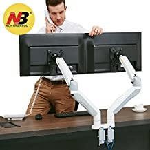 North Bayou Dual Monitor Desk Mount Stand Full Motion Swivel Computer Monitor Arm for Two Screens up to 32'' with Gas Spring