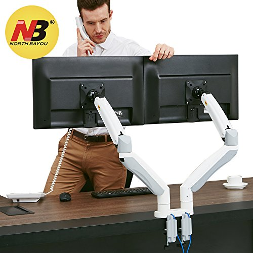 itor Desk Mount Stand Full Motion Swivel Computer Monitor Arm Gas Spring fits 2 Screens up to 32'' 19.8lbs Each Monitor White ()