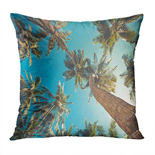 Vooft Throw Pillow Cover Home Sofa Live Room Car Hidden Zipper Decor Square 18 X 18 Inch Perfect Palm Trees Beach Vintage Toned Decorative Cushion -