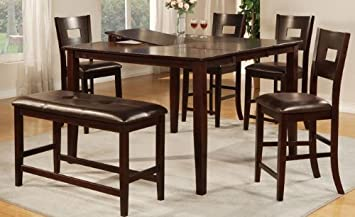 AmazoncomCounter Height Bar Table Set in Dark Brown Finish