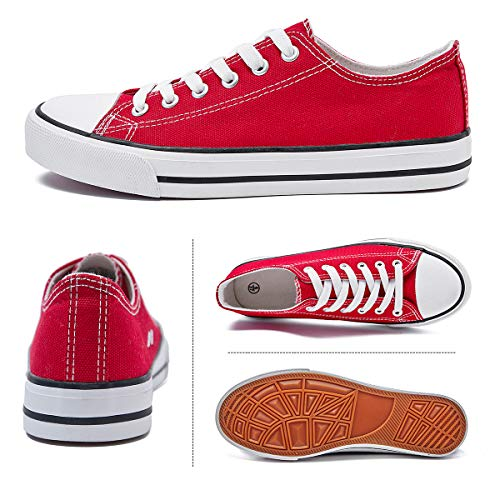 Adokoo Womens Canvas Shoes Casual Cute Sneakers Low Cut Lace up Fashion Comfortable for Walking(Red,US5