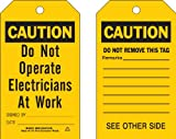 Brady  86428 5 3/4'' Height x 3'' Width, Heavy Duty Polyester (B-837), Black on Yellow Accident Prevention Tags (10 Tags)