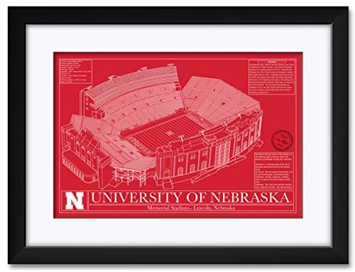 Northwest Art Mall Memorial Football Stadium School Colors Nebraska Cornhuskers Framed & Matted Hand-Drawn by Robert Redding. Print Size: 13