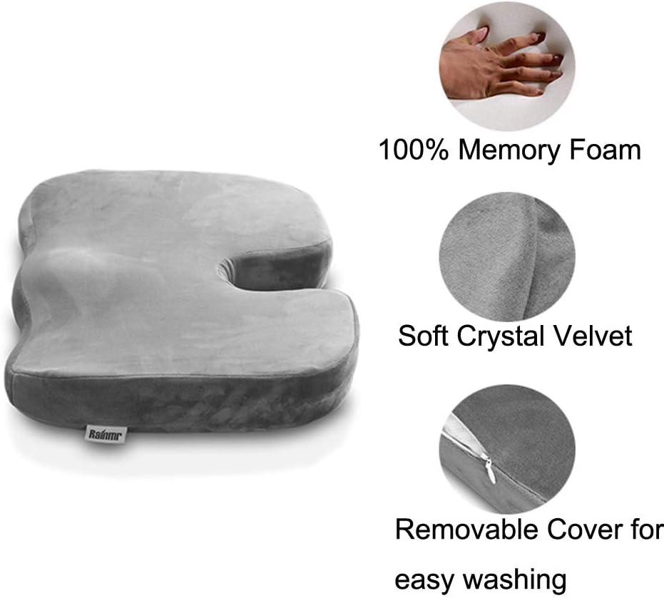 Rainmr Memory Foam Luxury Seat Cushion Orthopedic Design to Relieve Back Sciatica Coccyx Tailbone Pain Office Chair Car Seat Cushion Gray