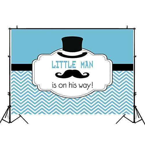 Funnytree 7x5ft Durable Fabric Blue Little Man Party Backdrop No Wrinkles Gentleman Mustache Boy Baby Shower Decorations Striped Baptism Background for Photography Photo Booth Banner