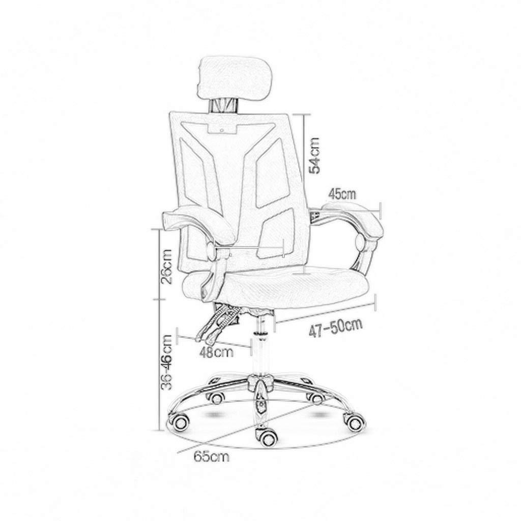 Stol, kontorsstol, skrivbordsstol ergonomisk kontorsstol skrivbordsstol, justerbart nackstöd och ländrygg stöd vridbar perforerad kontorsstol 4 färger BLÅ BLÅ