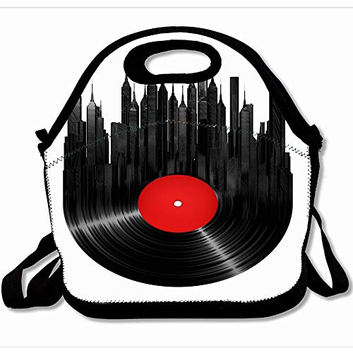 Ahawoso Reusable Insulated Lunch Tote Bag Remix Record Vinyl Rock Pop City Vintage 3D Music Turntable Dj Jazz Retro Label Audio Sound Lp Dance 10x11 Zippered Neoprene School Picnic Gourmet Lunchbox