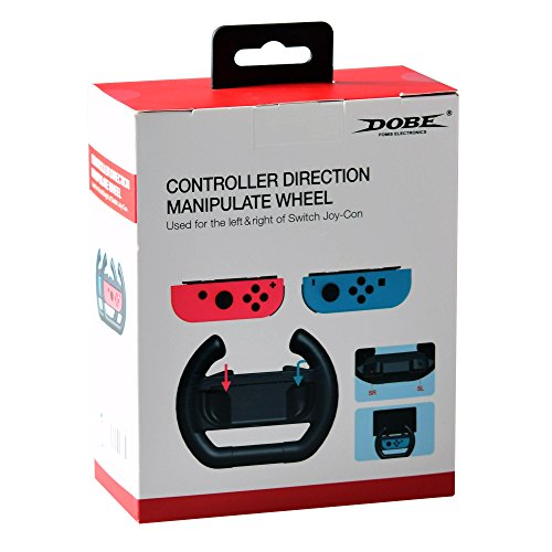 Mcbazel DOBE Left & Right Controller Direction Manipulate Steering Wheel Grip Handle for Nintendo Switch Joy-Con Controllers Black
