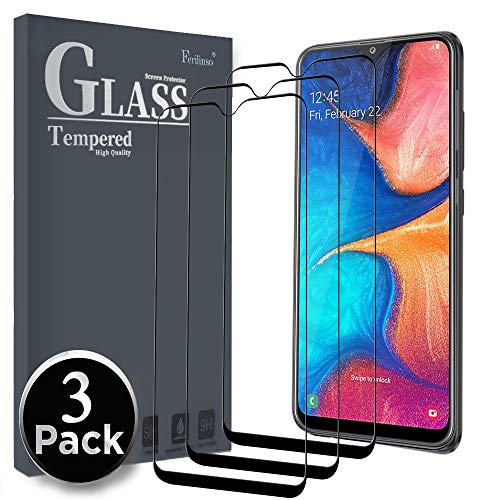 Ferilinso Screen Protector for Samsung Galaxy A20,[3 Pack] [Full Glue][Full Cover] Tempered Glass Case Friendly Protective Film with Lifetime Replacement Warranty (Black)