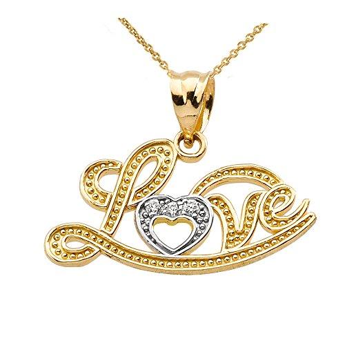 """10 ct 471/1000 """"Love"""" Script Or Jaune Diamant-Pendentif Collier"""