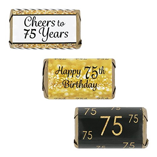 75th Birthday Party Miniatures Candy Bar Wrapper Stickers - Gold and Black (Set of 54)