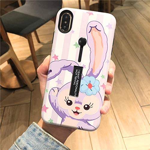 Hard Plastic Purple Stella Rabbit Case with Strap Stand for Apple iPhone Xs Max 6.5 Protective Shockproof Walt Disney Disneyland Cartoon Anime Cute Lovely Gift Girls Teens Kids Daughter
