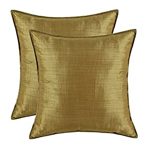 pack of 2 calitime silky throw pillow covers cases for couch sofa bed modern light weight dyed striped 18 x 18 inches gold