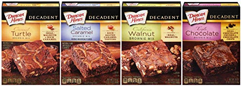 Cookie Mix Walnut Chocolate (Duncan Hines Decadent Brownie Mix Bundle 4 Pack – Caramel Turtle, Salted Caramel, California Walnut, and Triple Chocolate)