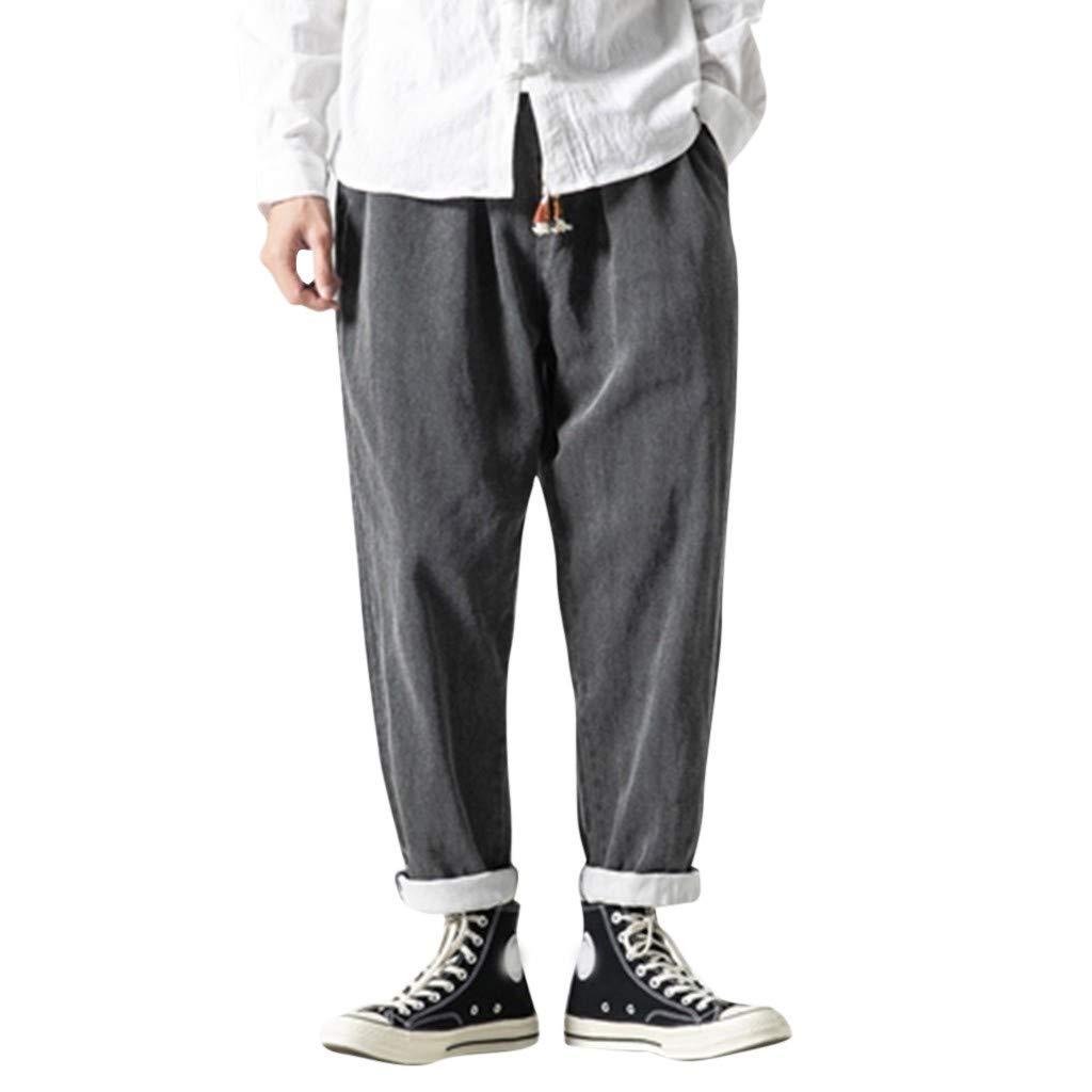 Aleola Men's Casual Plain Jeans Retro Trousers Pant (Black,XXXXXL) by Aleola_Men's Pants