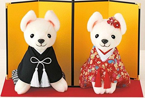 和装の犬のウェルカムドール手作りキットセット綿針糸毛氈金屏風付き(ボア生地カット済み)   B00LSFTC82