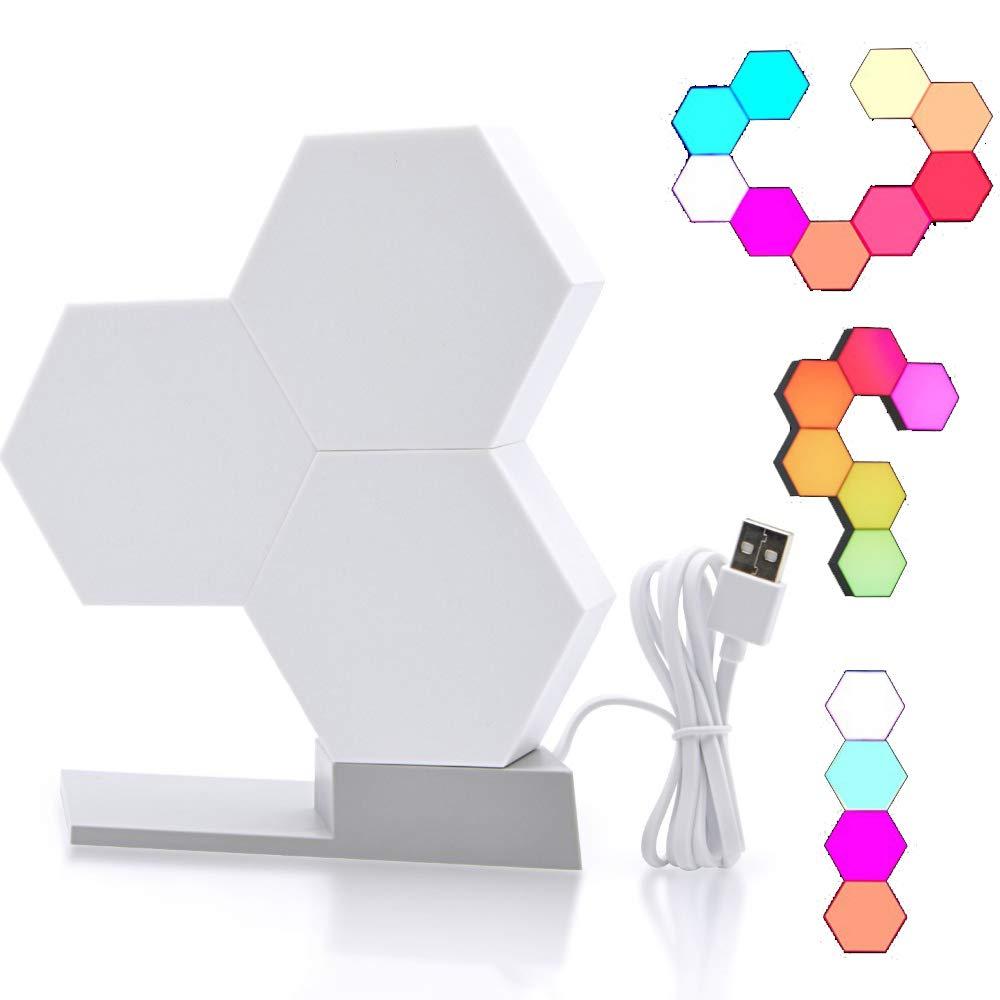 pannelli luminosi a LED intelligenti Telecomando per smartphone con luce notturna RGB che cambia colore Funziona con Alexa Google Home OurLeeme Pannelli luminosi a LED 1PCS senza Base