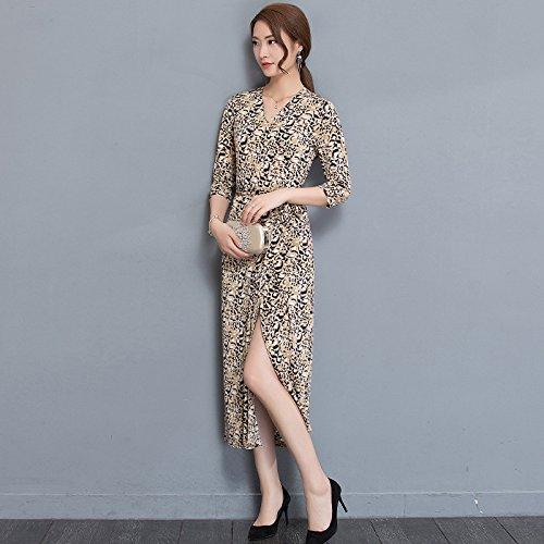 Siete Vestidos Dividida Leopardo Camisa Primavera Vestido ZHUDJ Vestidos Leopard 1vwqpZx